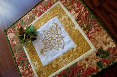 Christmas Patchwork quilted and embroidered table topper red