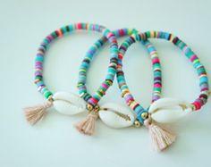 Gold Cowrie Shell Bracelet Ceramic Bracelet Tassel by minifabo