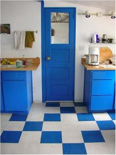 Interior, Contemporary Blue Kitchen Design With Charming Blue Wood Kitchen Cabinet On Combined Bright Brown Marble Countertop And Beautiful White Blue Geomatric Shaped Floor Also Gorgeous White Wall Paint: Coolest Interior Blue Kitchens Your Inspiration Blue Kitchen Designs, Blue Kitchen Decor, Kitchen Colors, Kitchen Ideas, Kitchen Yellow, Kitchen Decorations, Country Kitchen, Best Flooring For Kitchen, Best Kitchen Cabinets