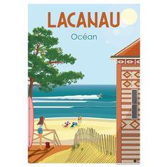 Surf Drawing, Lacanau Ocean, Illustrations Vintage, Ski Posters, Skate Surf, Vintage Travel Posters, Art Deco Fashion, Street Art, Surfing