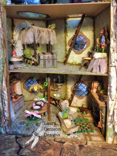 Laura Denison - Spring Fairy House with some of the furniture shown; May 2014 - just love all the details