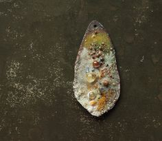 50x25mm yellow textured enamel and glass copper pendant - 4 Ophelia/Ophelia's Garden (Canada)
