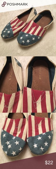 Madden Girl Red White and blue shoes Super cute Madden Girl Shoes. Slip on and in good condition. Size 8 red white and blue colored. No stains or rips. Great deal! 🇺🇸 Madden Girl Shoes Flats & Loafers