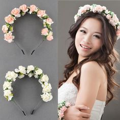 Flower Garland Floral Bridal Headband Hairband Wedding Prom Hair Accessories
