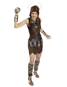 Disfraz guerrera vikinga mujer: Este disfraz incluye vestido, casco, manguitos y calentadores (peluca y piedra no incluidos).El vestido tiene efecto ante marrón. Tiene una armadura negra y plateada que decora el vestido...