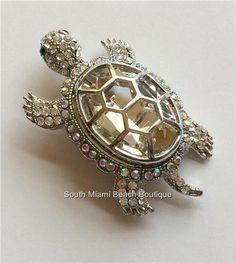 Silver Crystal Sea Turtle Pin Brooch Large Sparkly Nautical Beach Sea Life USA #Sparkle