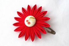 Red Kanzashi Hair Flower with Cherries by Scarlett and Maria