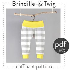 Pdf sewing pattern for baby and toddler pants with cuffs. They have a great, comfortable fit! It contains the pattern as well as step-by-step instructions. You will need: -Knit fabric for legs, cotton/lycra jersey works great. -- 0.5 yards of fabric for sizes Preemie to 12-18M -------- 0.75 yards of fabric for sizes 18-24M to 5-6T -Knit fabric for waistband and cuffs, rib knit or another stable, stretchy knit will work. -- 0.25 yard for all sizes -Sewing machine -Serger If you dont have a…
