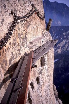 1. Sky Plank Road of Hua Mountain 华山长空栈道 -- The plank road refers to the walkway excavated and paved on cliffs. It is dangerous enough to challenge your courage. In China's mountainous areas there are lots of suspended plank path miracles. Here is a collection of some most dangerous plank roads in China.