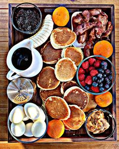 """2020 is the Year of the Pancake Board. """"make your own by filling a breadboard or large serving dish with pancakes, spreads, fruit and sprinkles. Use glass jars and ramekins to help separate the ingredients, as well as looking fab. Breakfast Casserole, Breakfast Recipes, Pancake Breakfast, Charcuterie Recipes, Charcuterie Board, Pancake Party, Cheese Party, Baked Brie, Food Platters"""