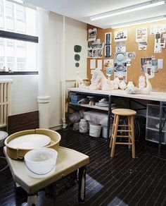 Work Space: A pottery work space.