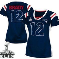 2e6a01f19f3 Nike New England Patriots Jersey 12 Tom Brady 2015 Super Bowl XLIX Drilling  Sequins Blue Womens Jerseys