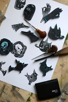 Linocuts and stamps, 2015 on Behance