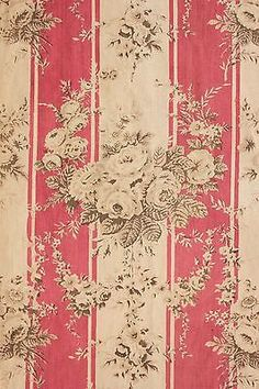 Vintage-French-curtain-Drape-Faded-floral-deep-coral-pink-beige-cabbage-roses