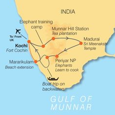 Map of Backwaters of Kerala in India