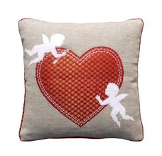 CUSTOM Valentine pillow cover heart motif linen with by VLiving, $25.00