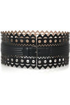 Alaia perforated leather belt £875.