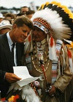 US President John F. Kennedy with Native American Chief.