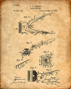 Barber's Hair Clipper Patent Print Patent Art by VisualDesign
