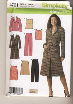 Simplicity 4791 Misses Easy Chic Pants, Skirt, Top and Lined Coat or Jacket sewing pattern Choose Your Size by Noahslady4Patterns on Etsy