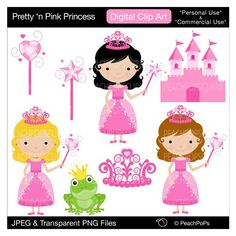 cute princess clip art  princess clipart princess digital clip art girl, pink - Pretty n Pink Princess - Personal and Commercial Use. $5.00, via Etsy.