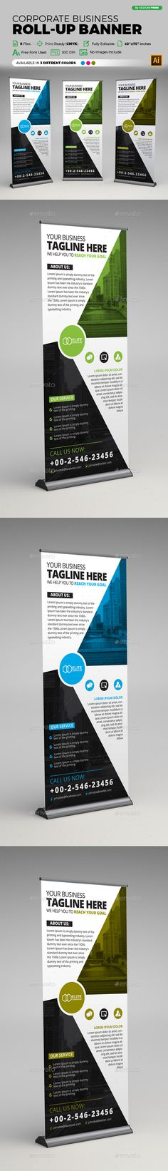 Buy Corporate Business Roll-up Banner by arsalanhanif on GraphicRiver. Corporate Business Roll-up Banner Template. This layout is suitable for any business. Very easy to use and customize. Signage Design, Banner Design, Rollup Banner, Corporate Business, Banner Template, Design Projects, Rolls, Ai Illustrator, Design Inspiration