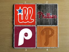 Philadelphia Phillies Stone Coaster  Set of 4 by schoenercreations