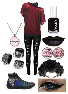 """""""Every Scar will Build my Throne"""" by robandshannon ❤ liked on Polyvore featuring Converse, Rock 'N Rose, Essie, women's clothing, women, female, woman, misses and juniors"""