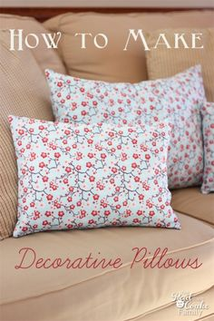 #RealCoakePowerPin Tutorial on how to make decorative pillows. This is a pattern for a simple envelope pillow cover. #Sewing #Pattern #Pillows #RealCoake