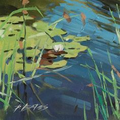"Daily+Paintworks+-+""Lily+Pads+I""+-+Original+Fine+Art+for+Sale+-+©+David+Bates"