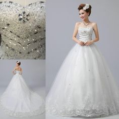 Wedding Dresses Bridal Gown 2016 Actual Image A-Line With Sweet-heart Beads Crystals Tulle Handmade Lace Up Court Train A-Line Wedding Dresses 2016 Dress Floor Length Bridal Gowns Online with $236.19/Piece on Yahuifang2016's Store | DHgate.com