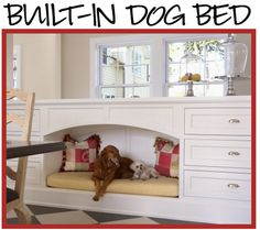 Built in dog beds...how cute! I have to make my furry baby one if these one day awww