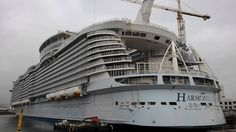 Harmony of the Seas construction port side lifeboats installed