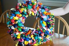 balloon and streamer wreath