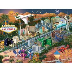 Shop Bits and Pieces jigsaw puzzle store for kids and adults! Las Vegas 1000 piece jigsaw puzzle by artist Joseph Burgess measures 20 x New Puzzle, Jigsaw Puzzle Store, 1000 Piece Jigsaw Puzzles, Las Vegas City, Las Vegas Nevada, Best Memories, Playground, Vacation, Xmas