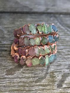 Watermelon tourmaline copperring / Stacking ring / Tourmaline ring / Bridesmaids gift / Raw gemstone ring / Gift for her / wife / Engagement ring Copper Jewelry, Cute Jewelry, Crystal Jewelry, Jewelry Accessories, Jewelry Design, Gothic Jewelry, Jewlery, Raw Gemstone Ring, Fashion Mode