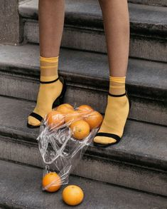 yellow socks with black strappy heels. / sfgirlbybay
