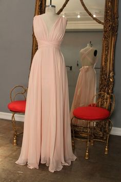 Blush Pink Open Back V-neckline Bridesmaid Dress