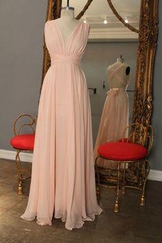 Blush Pink Open Back V-neckline Bridesmaid Dress