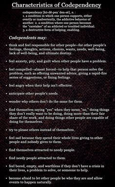 Characteristics of Codependency