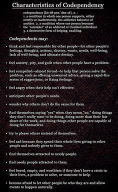 Characteristics of Codependency