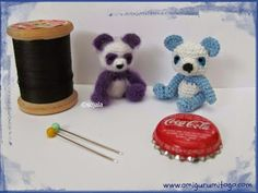 miniature purple and blue panda teddy bears made with crochet thread