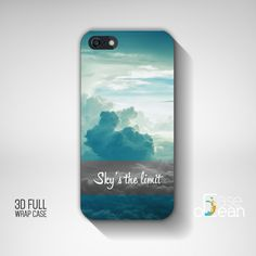 Sky and clouds motivational iPhone 6, 6Plus, 5s, 5, 4, 4s back cover, iPhone 3d wrap, Samsung Galaxy S5, S4, mini - blue motivation case by CaseOcean on Etsy