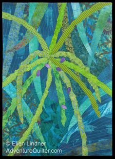 Image - yellow-green palm twigs against a blue-green background...love the colors....
