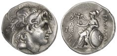 THRACIA, Lysimachos, 306-281 BC, tetradrachm, approximate 297-281 BC, Assos (?), Rv. : head of deified Alasdair the Great with diadem and hippocampus right, Rv. : Athena with Nike, at her shoulder leaned lance and shield left throning, in the left field griffin's head over monogram, fine style, due to the embossing a little bent, 16. 90 g, ss