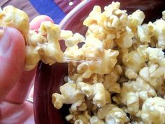 Mom's Gooey Caramel Corn- OMG kind of delicious! Quick and easy, I used my air popper. Makes about 12 cups popped. Truly very soft and gooey! No baking required.