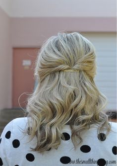 Casual Half Up Hair - section off hair and pull back (tie), flip over through pony tail, pin, and remove tie