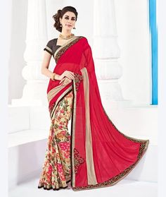 Famous designers trend to give reign to their imagination and create clothes that look interesting and guided by the desire to attract attention. Be ready to slip in the comfort zone of pink & cream color georgette saree. This attire is showing some really mesmerizing and innovative patterns with printed work. Comes with matching blouse.