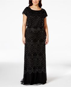 Adrianna Papell Plus Size Cap-Sleeve Beaded Sequin Gown - Dresses - Women -  Macy s 39f68d3dcc8e