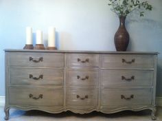SOLD Distressed Grey French Provincial 9 Drawer by BeautybyIngala, $895.00
